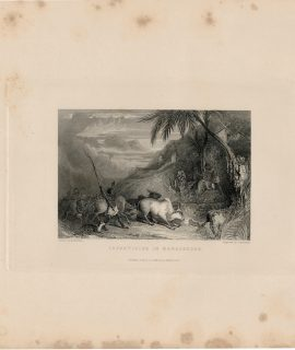 Antique Engraving Print, Infanticide in Madagascar, 1845