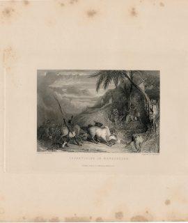 Antique Engraving Print, Infanticide in Madagascar, 1845