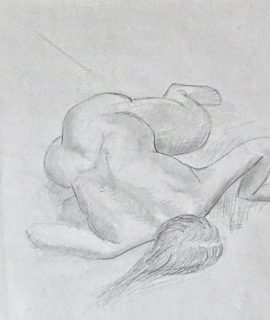 Nude original drawing pencil on paper, 1960