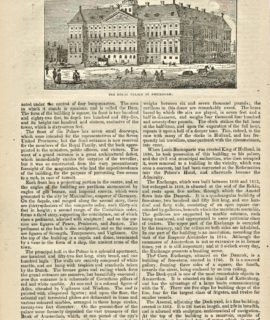 Antique Engraving Print, The Royal Palace at Amsterdam, 1834