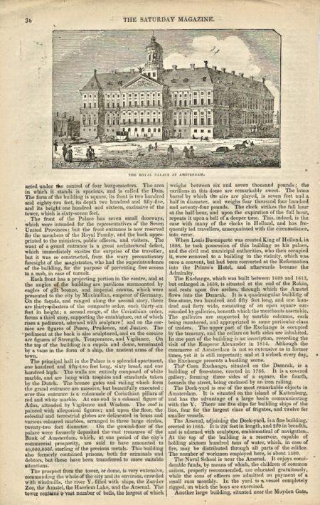Antique Engraving Print, The Royal Palace at Amsterdam, 1834