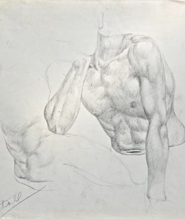 Pencil Drawing naked man on paper