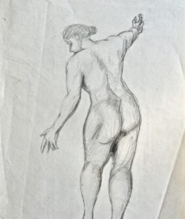Naked woman, pencil and graphite on paper