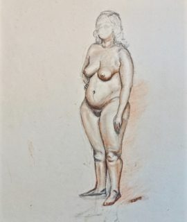 Naked woman, pencil and sanguine on paper, 1957