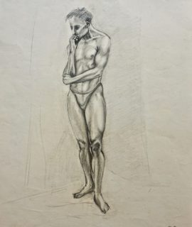 Naked Man, graphite and pencil on paper, 1957