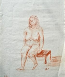 Naked woman, sanguine on paper, 1957