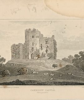 Wales Cardiff Castle, antique engraving print, 1845