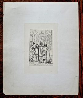Antique Engraving Print, Calvin, Le Pape, Luther, 1850