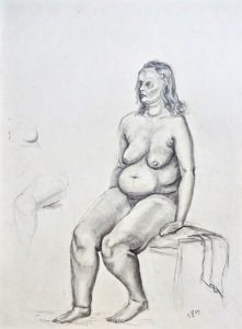 Naked woman, original drawing, graphite and pencil on paper, 1957