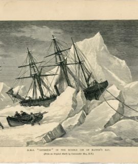 Antique Print, H.M.S. Intrepid in the middle ice, 1880
