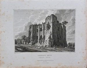 Antique Engraving Print, Kenilworth Castle, Cesar's Tower, 1820