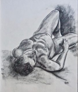 Naked Man, original drawing, charcoal on paper, 1958
