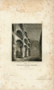 Antique Engraving Print, Waltham Abbey Church, Essex, 1818