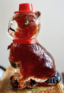 Miniature collection bottle, cat with hat