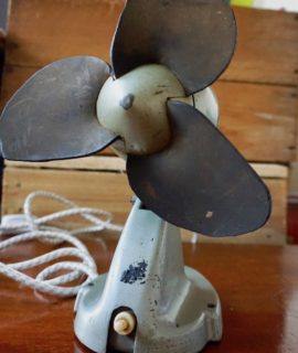 Original vintage 8 Inch Leather Winged fan, 1930
