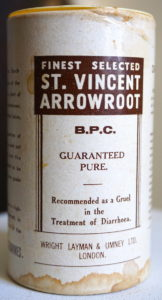 Vintage Carton of Finest Selected St. Vincent Arrowroot, Wright Layman & Umney L.T.D. London