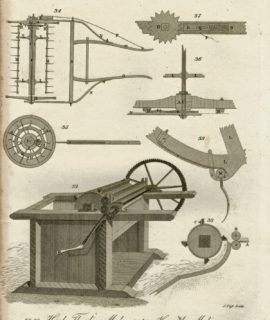 Hand Antique Engraving Print, Thrashing Machine, 1816