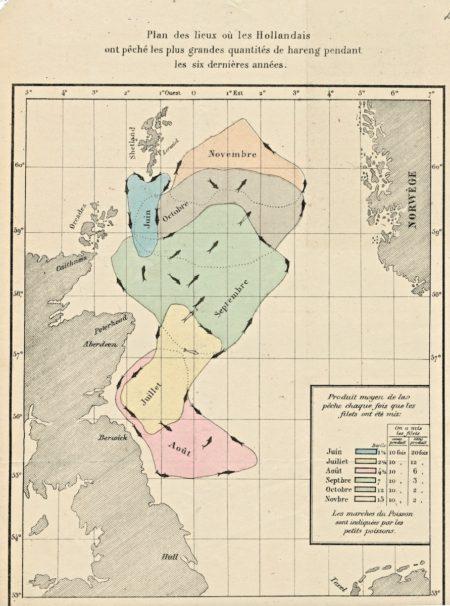 Plan des lieux où les Hollandais ont pêché les plus grandes quantités de hareng pendant les six dernières années, 1870 ca.