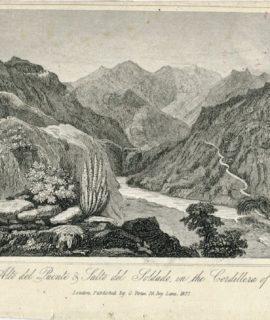 Antique Engraving Print, Alto del Puente, Salto del Soldado, in the Cordillera of the Andes, 1827