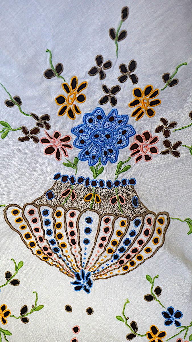 Vintage Handwork Set Carving Embroidery Linen Tablecloth
