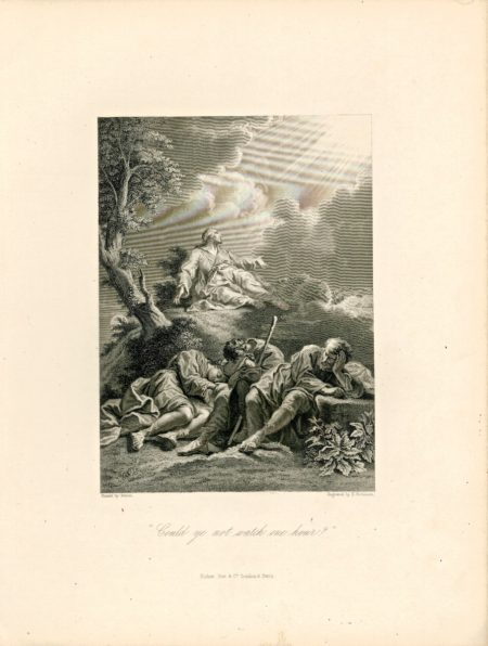 """Antique Engraving Print, """"Could ye not watch one hour?"""" Fisher Son & C., 1870"""