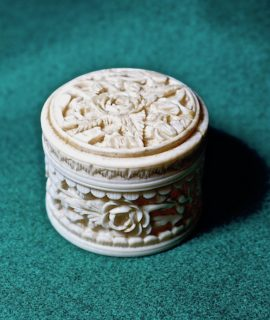 Antique Cantonese Hand Carved Ivory Box