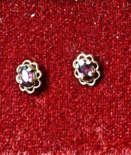 Antique Victorian Handmade Garnet Earrings, 9 k gold