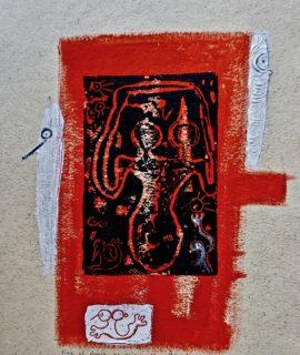 Fine al doppio, es. unico, linocut, cm. 33 x 24.