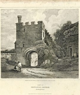 Antique Engraving Print, Part of Prudhoe Castle, Northumberland, 1813