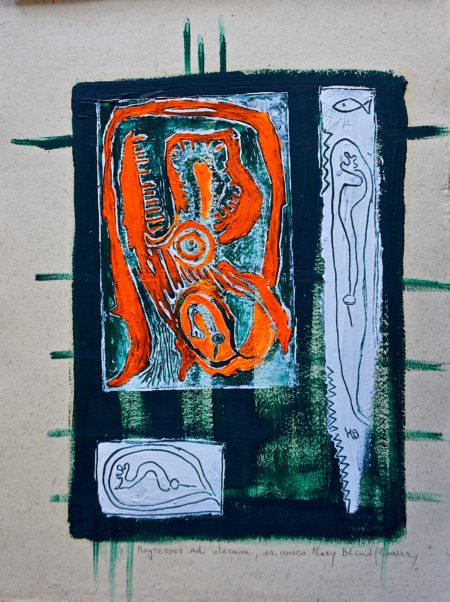 Regressus ad uterum, linocut by Mary Blindflowers©