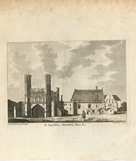 Antique Engraving Print, St. Augustine's Monastery, Kent, 1784