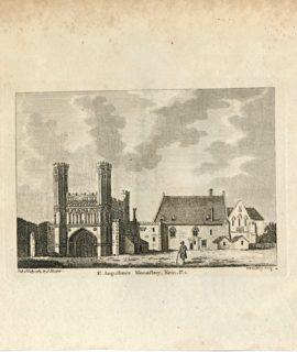 Antique Engraving Print, St. Augustine's Monastery, Kent, 1784