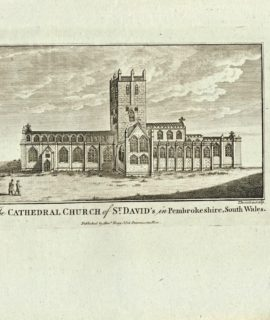 Antique Engraving Print, The Cathedral Church of St. David's, 1840 ca.