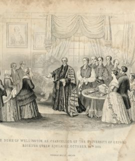 Antique Engraving Print,The Duke of Wellington as Chancellor of the University of Oxford receives Queen Adelaide October 19, 1835