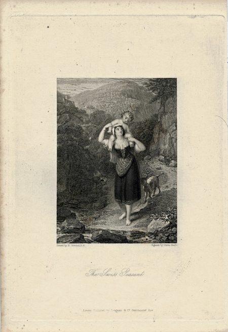 Antique Engraving Print, The Swiss Peasant, 1860 ca.