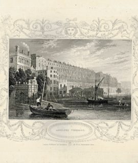 Antique Engraving Print, Adelphi Terrace, 1840