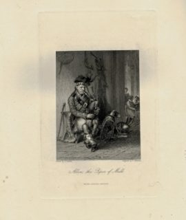 Antique Engraving Print, Allon, the Piper of Mull, 1840