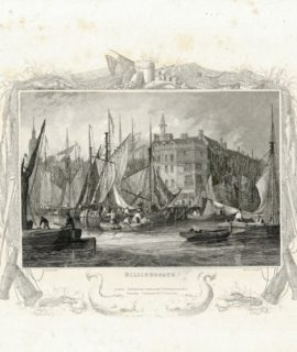 Antique Engraving Print, Billingsgate, 1830