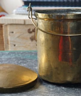 Antique Handmade Indian brass ghee storage pot