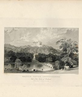 Antique Engraving Print, Belvoir Castle, Leicestershire, 1844