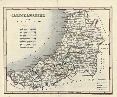 Antique Print, Cardiganshire by Joshua Archer, Pentonville, London, 1870 ca.