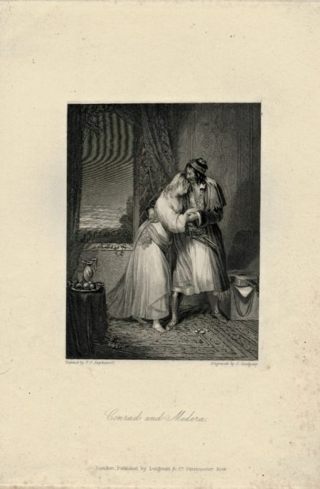 Antique Engraving Print, Conrad e Medora, 1830