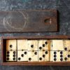 Antique Handmade Bone Dominoes in the wood box, 1890 ca., cm. 18 x 6, weight gr. 389.