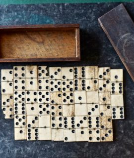 Antique Handmade Bone Dominoes in the wood box, 1890 ca.