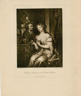 Antique Engraving Print, Duchess Mazarin and Count Colbert, 1870 ca.