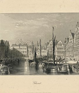 Antique Engraving Print, Ghent, 1840
