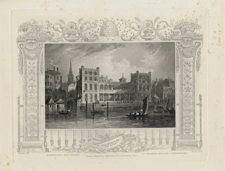 Antique Engraving Print, Hungerford New-Market, 1830