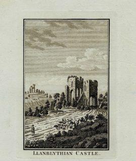 Antique Engraving Print, Llanblythian Castle, 1780 ca.
