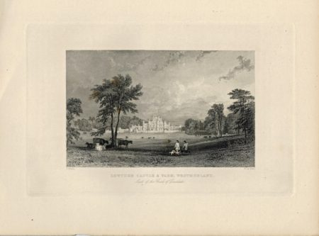 Antique Engraving Print, Lowther Castle & Park Westmorland, 1830