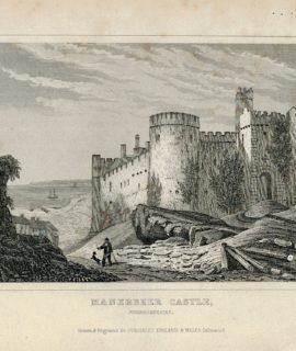 Antique Engraving Print, Manerbeer Castle, Pembrokeshire, 1830